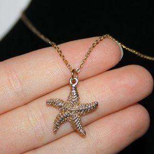 """Beautiful gold starfish necklace 18"""""""